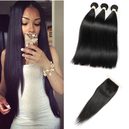 Wholesale Remy Hair Closure Piece - Peruvian Straight Hair with Closure Unprocessed Human Hair 3 Bundles Straight With Lace Closure Peruvian Virgin Hair with Closure ALOT