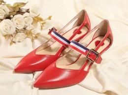 Wholesale Kitten Belts - high quality~u732 40 genuine leather pointy bamboo belt med heel sandals shoes summer heels fashion red black g