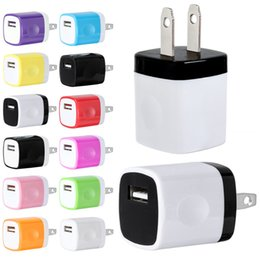 Wholesale quick gps - Quick Charging 5V 1A Colorful Home Plug USB Charger Power adapter for iphone 5 6 7 for samsung s6 s7 htc lg for mp3 gps