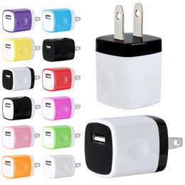 cargos domiciliarios Rebajas Carga rápida 5V 1A Colorido Home Plug Adaptador de corriente del cargador USB para el iphone 5 6 7 para Samsung s6 s7 htc lg para mp3 gps