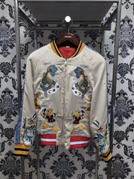 Wholesale Men Contrast Jacket - 2017 winter brand Fashion Donald Duck embroidered silk brocade carp coat jacketS Long sleeve Mens Casual Bomber Jacket Men Overcoat