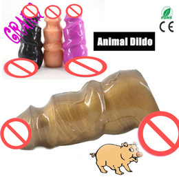 Wholesale Dildos Dolls - 19.5*7cm Woman Large Dildo Sex Toys Big Body Thick Penis Animals Pig Totem Dildos Anal Toys erotic toy doll adult game flirt