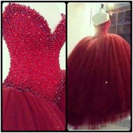 Wholesale Cheap Dress Quinceanera Gowns - 2017 Cheap Dark Red Quinceanera Dresses Ball Gown Sleeveless Crystal Beading Glitter Burgundy Long Floor Length 15 Party Prom Evening Gowns
