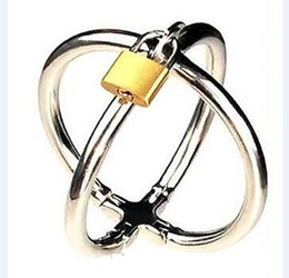 Wholesale locking sex handcuffs - 2017 Latest Female Stainless Steel Cross Handcuffs Manacle Bracelet Wrist Restraint Slave Bondage With Lock Adult BDSM Products Sex Toy