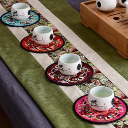 Wholesale Free Coffee Tables - Unique Fine Embroidery Decorative Round Coaster Chinese Traditional Style Coffee Table Mat Pad Free Shipping ZA4141