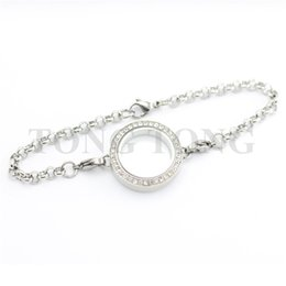 Wholesale Silver Chains Rolo Bracelets - 5 PCS Waterproof 25mm Screwed-off Stainless Steel Silver Czech Crystals Locket Bracelet with 8'' (22cm) Matching Rolo Chain