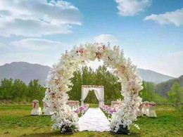 Wholesale Artificial Blossoms - 1 Meter Long Artificial Simulation Cherry Blossom Flower Bouquet Wedding Arch Decoration Garland Home Decor For Free Shipping