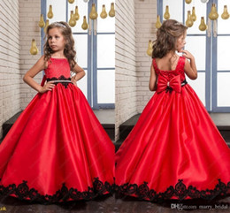 Wholesale Lace Satin Vest - Black and Red Wedding Flower Girl Dresses 2017 Princess Vintage Lace Beaded Bow Satin Sleeveless Baby Child Party Formal Birthday Dresses