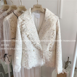 Wholesale Ladies Wool Blend Coats - Women Warm trend Long woolen coat New arrived top quality noble luxury brand sexy ladies woolen Color sequins pearl buckle tassel lapel suit