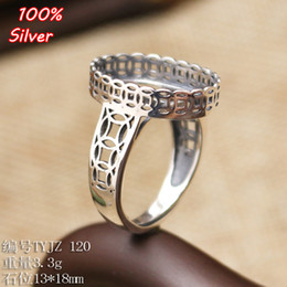 Wholesale Sterling Silver Jewelry Blanks - 100% 925 Sterling-Silver-Jewelry Adjustable Oavl Ring Blank Fit 13*18MM Money Empty Setting Tray Antique Silver Plate