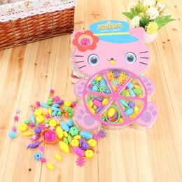 Wholesale Handmade Cat Toys - Children's Plastic Toys Cute Cat Cartoon Puzzle Assembled Girls Baby Handmade Develop Intelligence Particle Toys Christmas gift