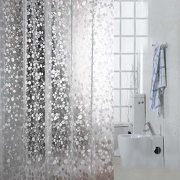 Wholesale Mosaic Patterns - 3D Embossing PVC Transparent Shower Curtains Cobblestone Mosaic Pattern Bath Curtain Simple Waterproof Solid Color Shower Curtain with Hooks