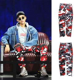 Wholesale Oversized Xxl - FLYING NINET Latest TOP camouflage camo KANYE WEST & FNTY oversized men joggers pants hip hop justin bieber Pink purple Fashion pants S-XXL