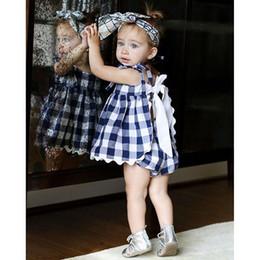 Wholesale White Apron Wholesale - Ins Baby girl dresses set Blue white Plaid Apron Lace Back Bow Dresses with bloomers 2pcs set 2017 Summer 100%cotton