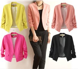 Wholesale Suit Jacket Women Designs - 2016 New Autumn short jackets Candy Color Women outwear Spring Slim Short Design Suit Coat S M L XL Free Shipping