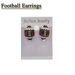 Wholesale Stud Earring Sports - Sports Post Earring Studs Girls Football Rhinestone Crystal Bling