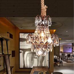 Cuerdas de luz de cristal led online-Bar antiguo lustres de cristal rústicos luces colgantes cuerda hierro cristal lámpara colgante Moda americana Industrial Loft cafe Luz