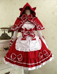 Wholesale Red Hood Cosplay - Lace Retro Pleated Summer Long Sleeved Little Red Riding Hood Maid Shawl Straps Cosplay Prom Dress Fashion Lolita Ball Gown 2017 Real Photo