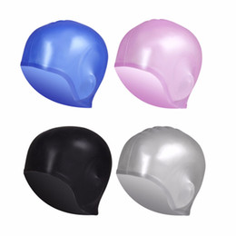 Wholesale Protect Hair Color - Wholesale- Waterproof High Elastic Soft Silicone Swimming Cap Protect Ears Long Hair Swimming Wear Hat Cap For Men Women Adults New