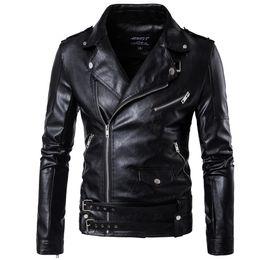 Wholesale Long Leather Jackets For Men - 2017 Black Moto Leather Jackets For Men Short Cool Best Designer Faux Leather Blazer Mens Casual Fashion Slim Coats Biker Jacket