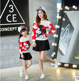 Wholesale Korean Style Long Skirts - Mother and daughter outfit children long sleeve cartoon Mickey Mouse tops + black cotton skirt 2pcs sets korean style Family outfit T0690