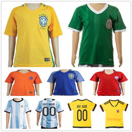 Wholesale Brazil Football Kits - Kids Soccer Jersey Colombia Yellow Mexico Green Brazil Blue White Netherlands Holland Orange Argentina Youth Boys Football Kit