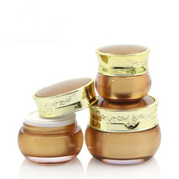 Wholesale Small Plastic Bottles Lids - 10g 15g 30g Plastic Mask Bottles With Lids Golden Acrylic Sample Small Empty Cream Jars Cosmetic Packaging Containers F20171512