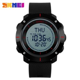 Wholesale Digital Stopwatch Compass - SKMEI 1216 Men Big Dial Digital Wristwatches World Time Compass StopWatch Pu Strap Relogio Masculino Waterproof Sports Watches