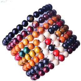 Wholesale 8mm Round Wood Beads - 8MM Round Wood Bead Stretch Bracelets Women Men Colorful Beads Chain Bracelet Bangle For Gifts 7 Colors Mix HW