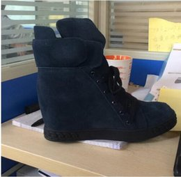 Wholesale Cheap Wedge Snow Boots - 2017 Real Picture Cheap Price Suede Wedge Shoes Increased Lace Up Winter Snow Boots High Heel Platform Shoes for women