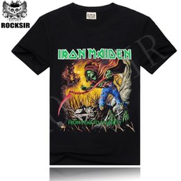 Wholesale Iron Men Shirt - Rocksir 2016 Iron Maiden Brand Black t shirt New Style Heavy Metal Streetwear Men's T-shirts Cotton Casual Short Sleeve TOP Tees