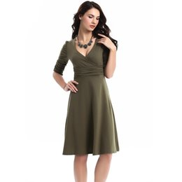 Wholesale Plus Size Yellow Midi Dress - 2016 Summer Style Elegant Tunic Party Dresses Midi Pleated Vintage Office Sexy Dress Casual Plus Size Women Clothing QW012