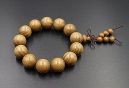 Wholesale Mens Bead Bracelets Wood - Sunyata@ 18mm Large Green Sandalwood Tibet Buddhism Prayer Beads Mens Handmade Bracelet