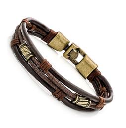 Wholesale United Leather Bracelets - Europe and the United States trend of retro fashion leather bracelet, personalized publicity, original design CB007