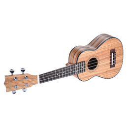 "Wholesale Guitar Ebony Board - Wholesale- ammoon 21"" Ukulele Ukelele 4 Strings Hawian Guitar Zebrawood Board Rosewood Fretboard OX Bone Saddle Stringed Instrument Gift"
