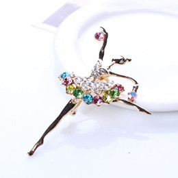 Wholesale Ballerina Dancers - Wholesale- Hot Fashion 1pc Brooches for Women Ballerina Ballet Dancer Girl Full Colourful Crystal Cute Angel Brooches Pins