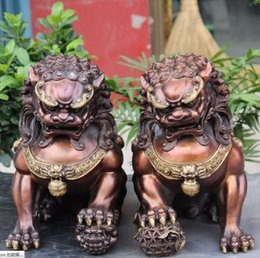 "Wholesale Bronze Foo Dogs - 12"" Chinese Pure Bronze Gilt Foo Fu Dog Guardian Door Lion Leo Ball Statue Pair"