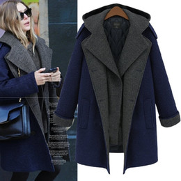 Wholesale Long Women British Coat - Europe and America fashion british style plus size woolen outerwear double breasted medium-long woolen outerwear with a hood wool coat