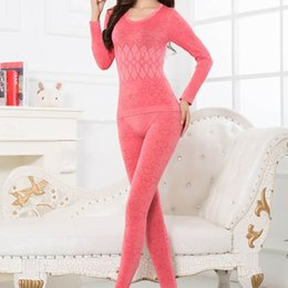 Wholesale Warm Pajama Bottoms - Wholesale- 2017 Soft Warm Women Long Sleeve Thermal Winter Underwear Tops+Pants Sets Bottoming Long Johns Pajama Set