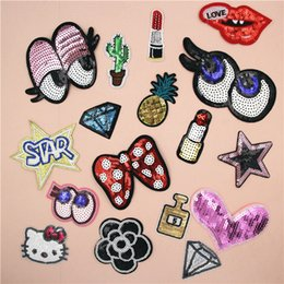 Wholesale Diy Clothes - Embroidered Sequins Beaded Lip Diamond Sewing on Small Patch for Clothing Hat Shoes Bag Decorative DIY Applique Accessories
