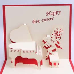 Wholesale Paper Silhouettes - Wholesale- Handmade 3D Congratulation Card paper silhouette Valentine's day Card Birthday gifts happy birthday decorations