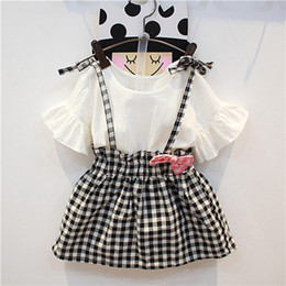 Wholesale Skirt Outfit For Winter - Summer Girl Dress Girl Top + Bowknot Suspender Skirt 2 Pieces Kids Summer Outfits For 1~6 Y