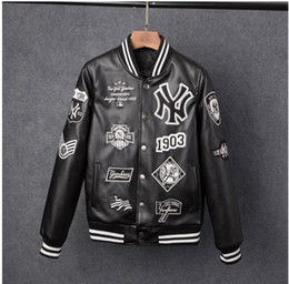 Wholesale Mens Pu Jackets - Men jackets Brand Caual Mens new york pu coat Fashion Hip Hop embroidery baseball NY jacket Sweatshirts