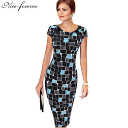 Wholesale Club Body Dresses - Wholesale- Nice-forever Autumn Casual Slimming Stretchy Vintage dress Polyester Body-con Geometric O Neck Sheath Fitted Pencil Dress b254