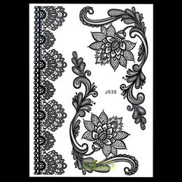 Wholesale Temporary Tattoo Patterns - Wholesale- 1pc New Flash Flowers Indian Henna Temporary Tattoo Stencil Sexy Women Body Art BJ038 Bracelet Waterproof Tasty Tattoo Patterns