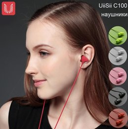 Wholesale Pink Earphone Ear - UiiSii C100 Earphone With Microphone Stereo Earphones 3.5mm Ecouteur Cute Auriculares For iPhone 5 6 7 Samsung S8 Xiaomi PC MP3 Player