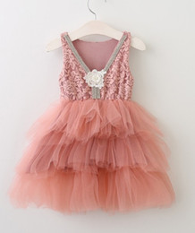 Wholesale Tutu Pink Trim - 2017 New Girls Lace Trimmed Embroidered Tulle Dress Princess Baby Holiday Party Cake Layered Flower Backless Dresses Wholesale