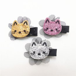 Wholesale Girls Grips - 15pcs lot Glitter Felt Kitty Hair Clip Embroidery Cat Barrette with Black Flower Mesh Mini Toddler Girl Hair Grips Cartoon Pinch