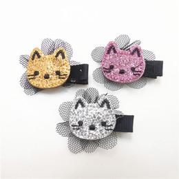 Wholesale mini mesh flowers - 15pcs lot Glitter Felt Kitty Hair Clip Embroidery Cat Barrette with Black Flower Mesh Mini Toddler Girl Hair Grips Cartoon Pinch