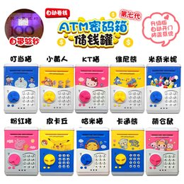 Wholesale Mini Coin Banks - Cartoon Safety Box Pikachu Minions Piggy Bank Mini Money Saving Box Password Locks Coins Cash ATM Deposit Machine Christmas Gift For Kids